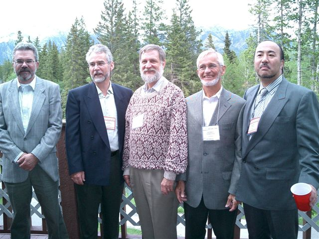 L to R - Bill Furlong, John Horsman, David Feeny, George Torrance & Takamoto Uemura at the International Society for Technology Assessment in Health Care - ISTAHC, June 2003, Canmore AB, Canada